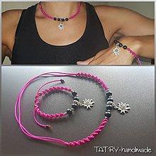 Sady šperkov - Set náhrdelník a náramok (Plesnivec - ružový) - 10917344_