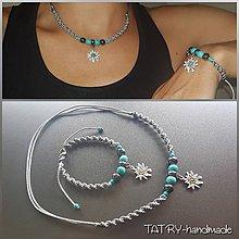 Sady šperkov - Set náhrdelník a náramok (Plesnivec - sivý) - 10917346_