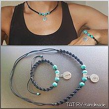 Sady šperkov - Set náhrdelník a náramok (Strom života - čierny) - 10917350_