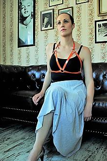 Iné doplnky - Kožený řemínkový postroj COLETTE oranžová - 10919276_