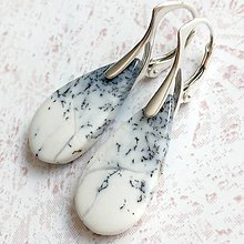 Náušnice - Dendrite Opal Teardrop Earrings AG925 / Strieborné náušnice s dendritickými opálmi #2204 - 10920881_