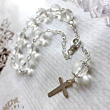 Náramky - Faceted Crystal Quartz Silver AG925 Rosary / Strieborný ruženec na ruku alebo do auta s krištáľom - 10920953_