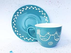 Nádoby - Šálka na kávu - vtáčiky Folk - 10922201_