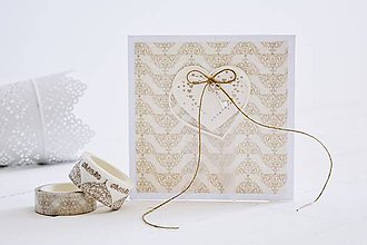 Papiernictvo - Svadobný pozdrav - srdiečka na ornamente - 10920234_