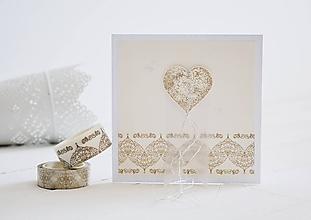 Papiernictvo - Svadobný pozdrav - srdiečko na ornamente - 10920245_