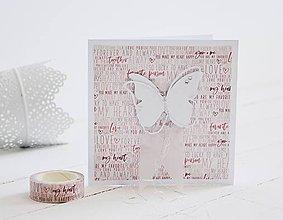 Papiernictvo - Svadobný pozdrav - motýle - 10920270_