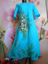 """Šaty - Ľanové maľované šaty """"Lúčna kytica II. """" - 10922065_"""