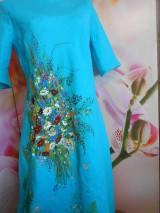 """Šaty - Ľanové maľované šaty """"Lúčna kytica II. """" - 10922071_"""