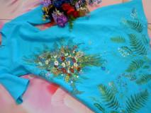 """Šaty - Ľanové maľované šaty """"Lúčna kytica II. """" - 10922075_"""