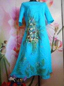 """Šaty - Ľanové maľované šaty """"Lúčna kytica II. """" - 10922068_"""