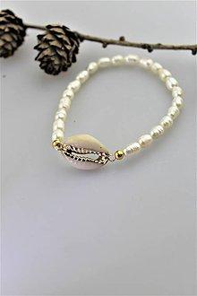 Náramky - pravé perly náramok s mušlou AKCIA! - 10920970_