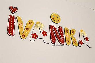 Tabuľky - IVANKA kvetinkové meno z drevenných písmeniek - 10921581_