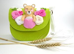 Detské tašky - Moja prvá kabelka s hračkou (s macíkom) - 10921539_