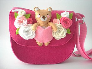 Detské tašky - Moja prvá kabelka s hračkou (s macíkom (magenta)) - 10921681_