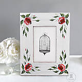 Ručne maľovaný rámček - Ružová záhrada