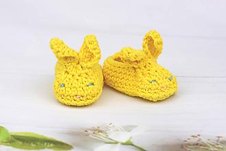 Topánočky - Žlté papučky zajačik EXTRA FINE - 10921523_