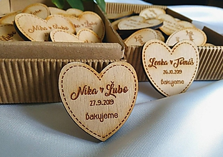 Darčeky pre svadobčanov - Svadobné magnetky .srdiečko pure - 10922114_