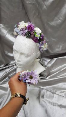 Sady šperkov - Fialová kvetinová čelenka a náramok / fialový kvetinový set - 10921721_