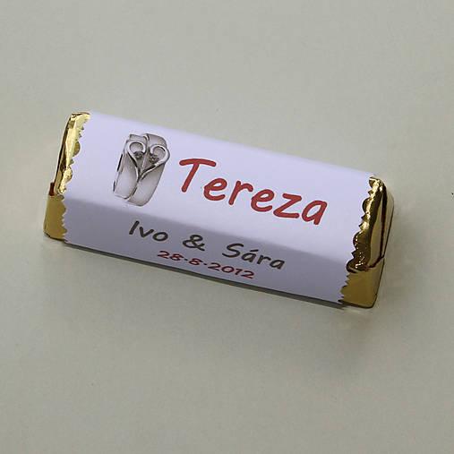Čokoládové menovky, darček na redový tanec
