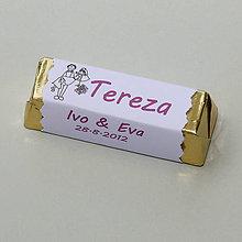 Darčeky pre svadobčanov - Čokoládové menovky, darček na redový tanec - 10921218_