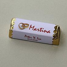 Darčeky pre svadobčanov - Čokoládové menovky, darček na redový tanec - 10922488_