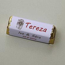 Darčeky pre svadobčanov - Čokoládové menovky, darček na redový tanec - 10922536_