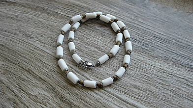 Šperky - Pánsky náhrdelník okolo krku - chirurgická oceľ (biely, č. 2806) - 10921457_