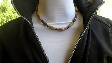 Šperky - Pánsky náhrdelník okolo krku z minerálov - chirurgická oceľ (Tigrie oko + drevené korálky, č. 2808 - ORIGINÁL) - 10921476_
