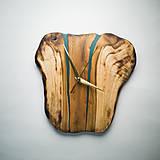 Hodiny - RAW Resin 9 - Teakové drevené hodiny - 10922383_
