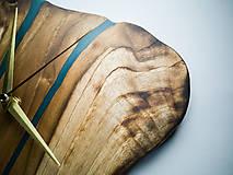 Hodiny - RAW Resin 9 - Teakové drevené hodiny - 10922384_
