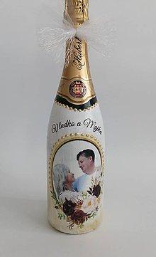 Nádoby - Fľaša svadobná s fotkou - 10922172_