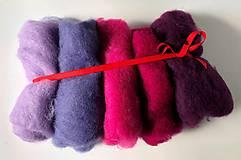 Textil - Mykaná vlna sada 100 g ružovo-fialová - 10922613_