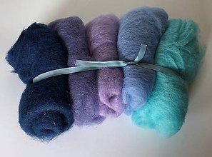 Textil - Mykaná vlna sada 100 g modrá pastelová - 10922569_