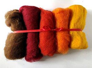 Textil - Mykaná vlna sada 100 g oranžovo hnedá - 10922604_