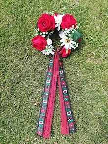 Ozdoby do vlasov - Kvetinová parta Červená ruža - 10921337_