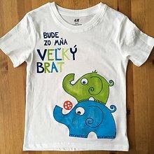 """Detské oblečenie - Maľované tričko s nápisom """"Bude zo mňa veľký brat"""" ( (BIELE SO sloníkmi) - 10922560_"""
