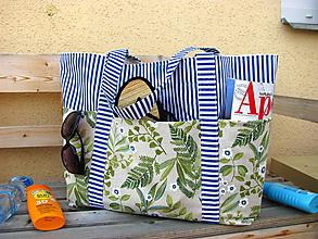Veľké tašky - Plážová (oversized) taška - Na pláž s kapradinou - 10921648_