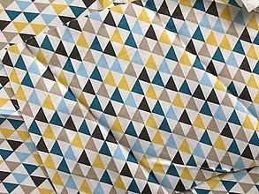 Na tablet - Obal na čítačku alebo tablet - #34 látka Retro trojuholníky tyrkys - 10920656_