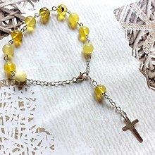 Náramky - Natural Yellow Opal Silver AG925 Rosary / Strieborný ruženec na ruku alebo do auta so žltým opálom - 10923080_