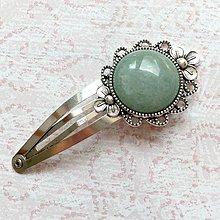 Ozdoby do vlasov - Vintage Green Aventurine Hair Clip / Veľká vintage sponka s aventurínom - 10924517_