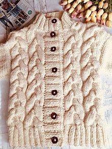 Oblečenie - pánsky hrubší sveter so vzorom, 100 % vlna - 10923405_
