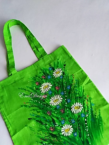 Nákupné tašky - Na letnej lúke - zelená maľovaná taška - 10922855_