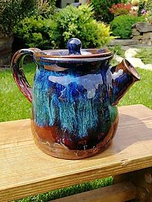 Nádoby - Čajník modro-hnedý - 10923639_
