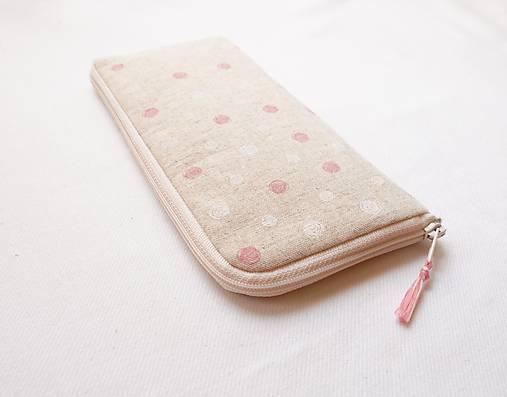 Obal na mobil - Ružovo/biele guličky