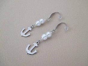 Náušnice - Náušnice - KOTVA - biele perly - chirurgická oceľ - 10923402_