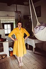 Šaty - Ľanové zavinovacie šaty s golierikom - 10923420_