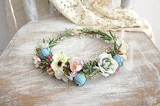 Ozdoby do vlasov - Kvetinový venček ,,modro-ružový,, - 10922799_