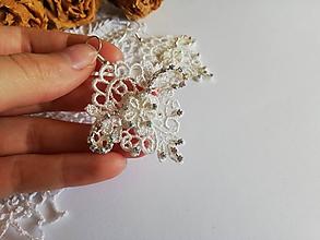 Náušnice - Biele čipkové náušnice - 10923897_