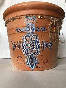 Nádoby - Ručne maľovaný črepník terakota - 10923419_