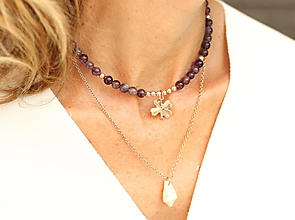 Náhrdelníky - Súprava náhrdelníkov (choker ametyst + retiazka s mušľou) - 10923611_